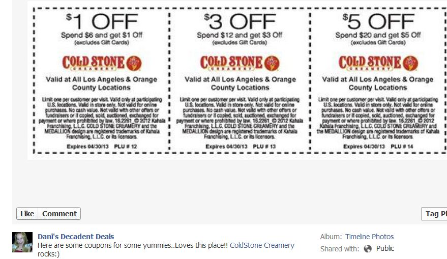 photo about Cold Stone Printable Coupon titled Danis Greatest Promotions of the 7 days 3/20/13 Danis Decadent Promotions