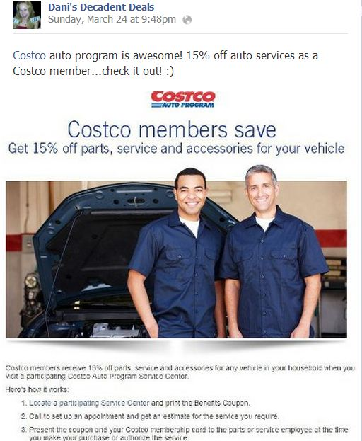 Costco 15% off Parts & Service on your auto!