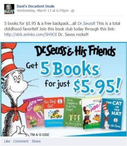 Dr. Seuss 5 books for $5.95 & free bacckpack