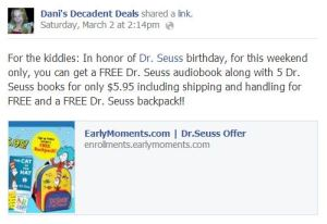 Dr. Seuss Offer - earlymoments.com