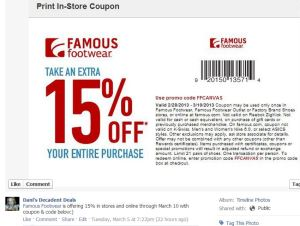 Famous Footwear - 15% off through 3-10