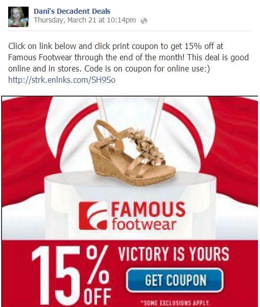 Famous Footwear 15% off
