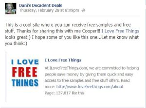 ilovefreethings.com website to get free stuff