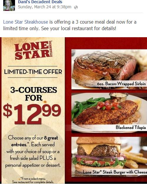 Lonestar Steakhouse $12.99 Special