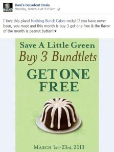 Nothing Bundt Cakes - Buy 3, get 1 free through March 23