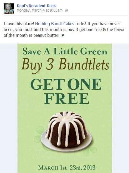 Nothing Bundt Cakes Buy 3 Get 1 Free Through March 23