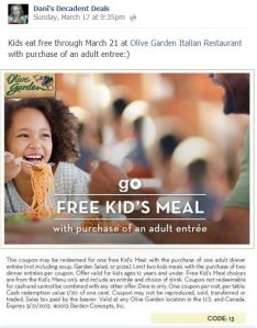 Olive Garden Free Kids Meal with Adult Entree Purchase through March 21, 2013