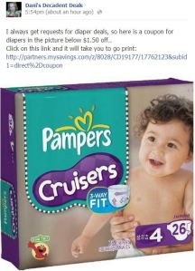 Pampers Diapers $1.50 off!