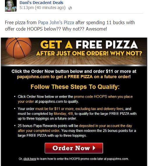 Papa Johns - Free Pizza