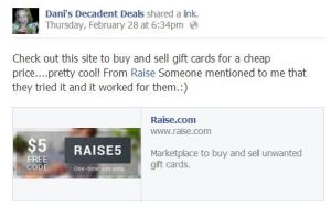 Raise.com Gift card services