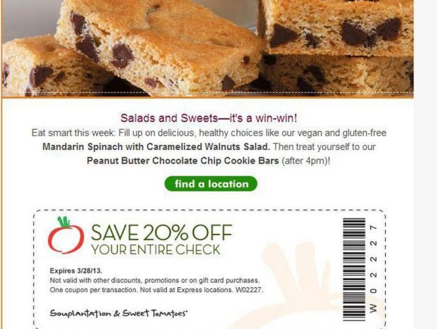 Souplantation & Sweet Tomatoes 20% off Thru 3-28