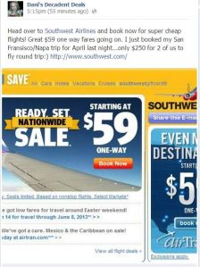 Southwest Airlines $59 One Way