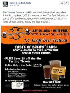 Taste Of Brews Riverside $5 off