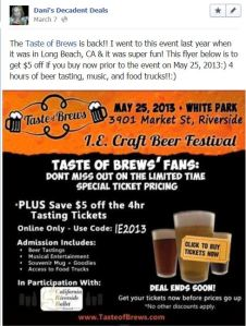 Taste Of Brews Riverside $5 off