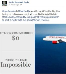 Virgin America & Urban Daddy & Outlok Email offer 20% off