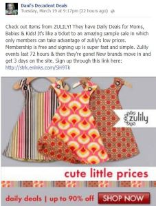 Zulily up to 90% off Daily deals for moms, babies & kids