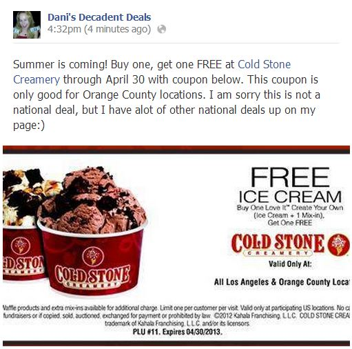 Buy one get one FREE - Coldstone LA & OC only thru 4-30