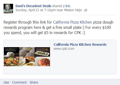 California Pizza Kitchen Rewards Program - $5 free