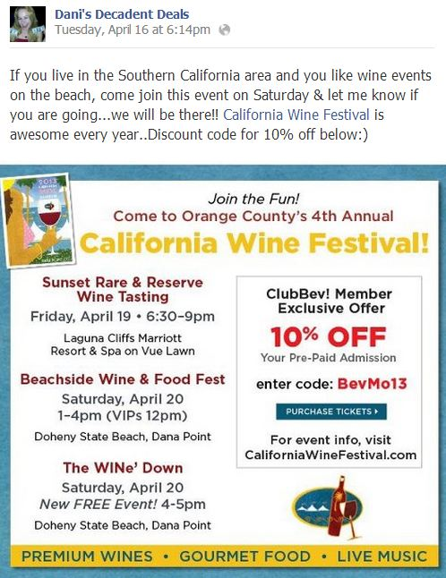 California WIne Festival - Doheny State Beach 10% off thru 4-18