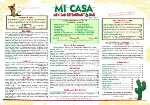 Mi Casa Restaurant & Bar Menu