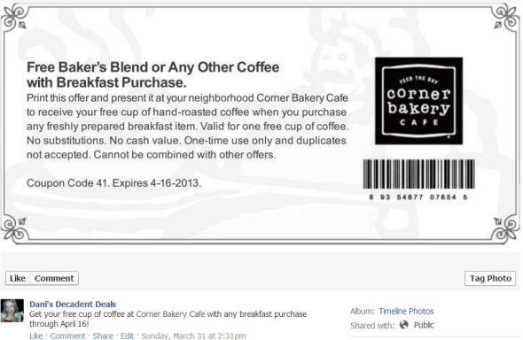 Corner Bakery Free coffee April 16