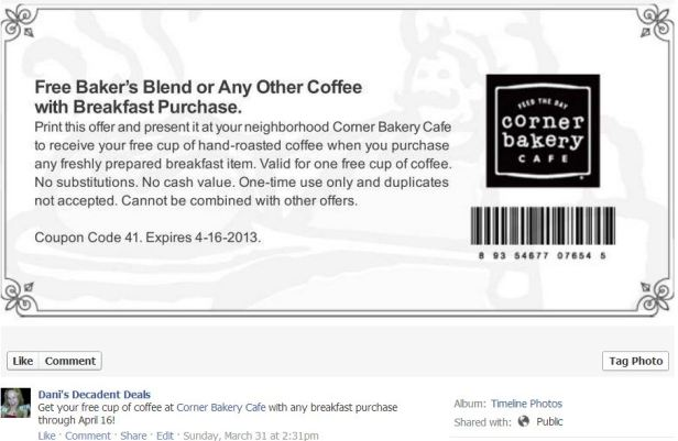 Corner Bakery Free coffee April 16