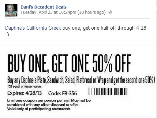 Daphne's -Buy one, get one half off thru 4-28