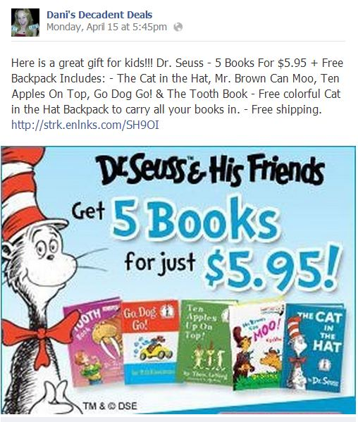 Dr. Seuss $5.95 for 5 books and a backpack!