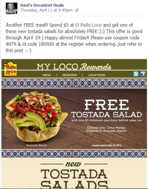 El Pollo Loco Free Tostada Salad Through April 19!