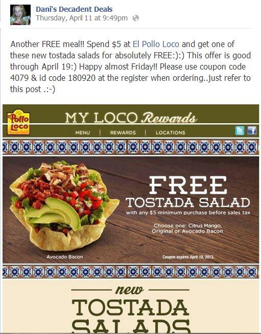 El Pollo Loco Free Tostada Salad Through April 19!