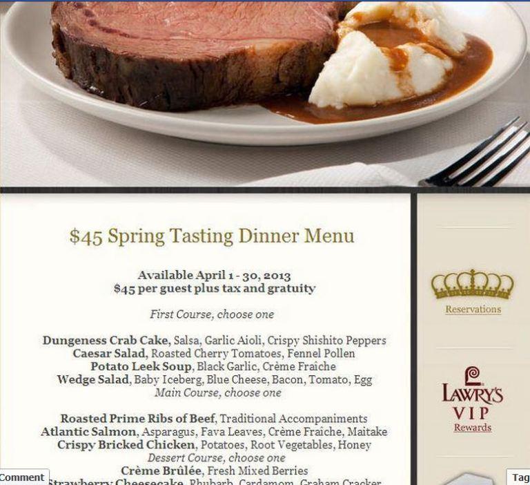 Five Crowns Spring Tasting Dinner thru April 30