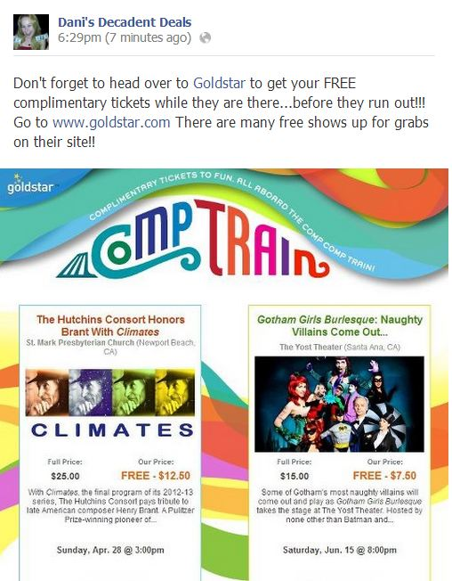Goldstar Events - Complimentary Tickets FREE
