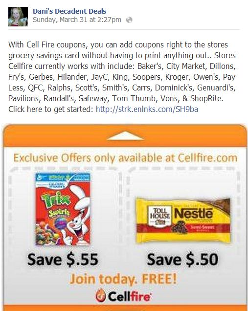 Grocery coupons uploaded to your card