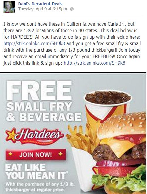 Hardees free fries and drink