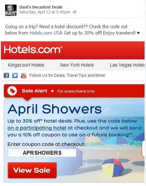 Hotels.com Sale for April Travelling