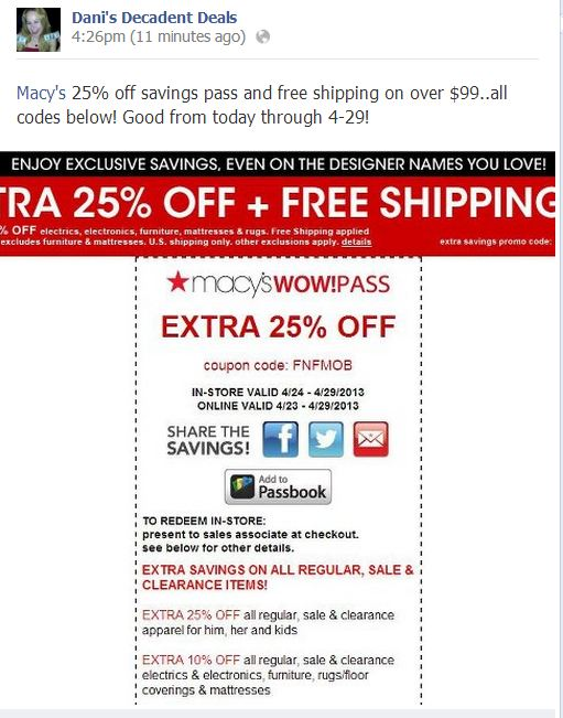 Macy's Extra 25% off & FREE shipping thru 4-29