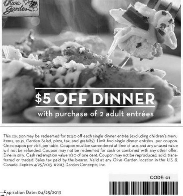 Olive Garden $5 off thru 4-25