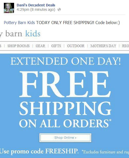 Pottery Barn Kids FREE shipping through 4-24
