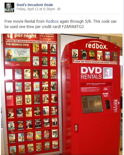 Redbox FREE movie Rental Code