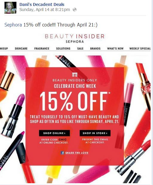 Sephora - 15% off coupon through April 21
