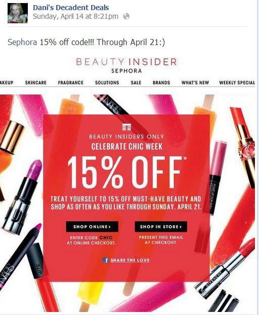 Sephora - 15% off coupon through April 21