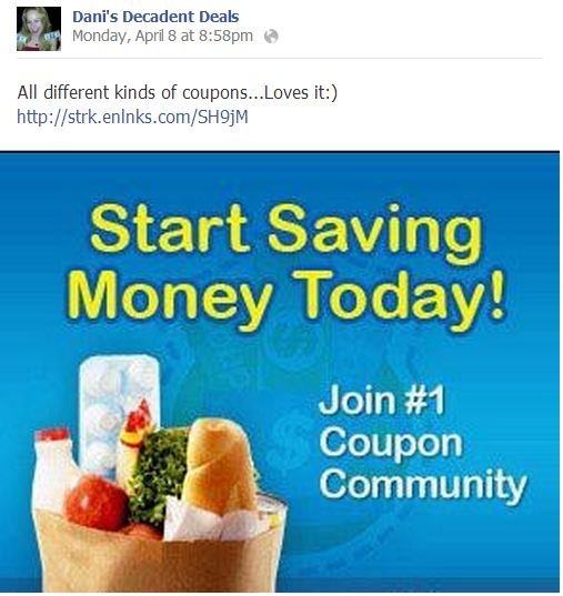 Sign up for coupons through link