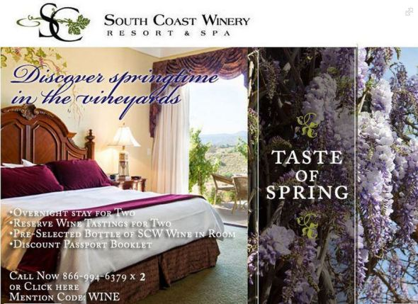 South Coast Winery = Spring Discounts Code WINE