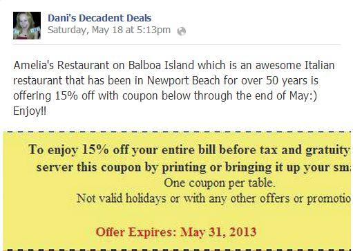 15% off at Amelia's Ballboa Island thru 5-31-13