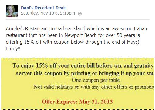 15% off at Amelia's Ballboa Island thru 5-31-13