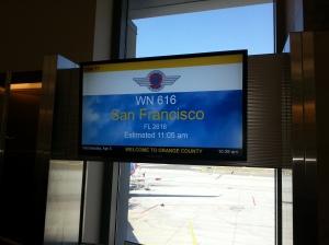 Our Southwest Airlines Flight Orange County - San Francisco