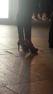 I don't know how she walked around the event in these..I would fall :)