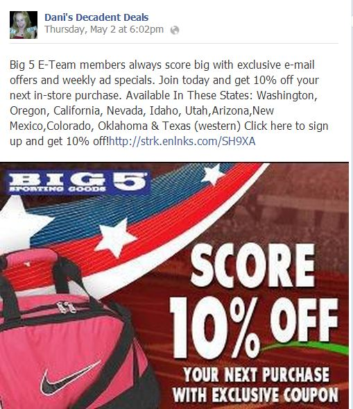 Big 5 Get a 10% coupon through Link