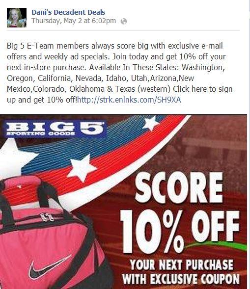 Big 5 Get a 10% coupon through Link