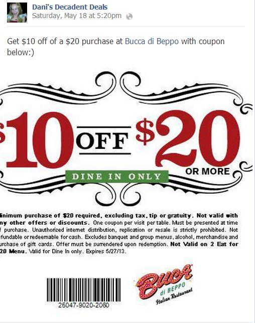 Bucca Di Beppo $10 off of $20 thru 5-27-13